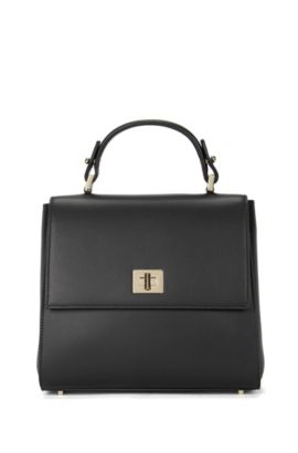 Small-format BOSS Bespoke handbag in smooth leather, Black