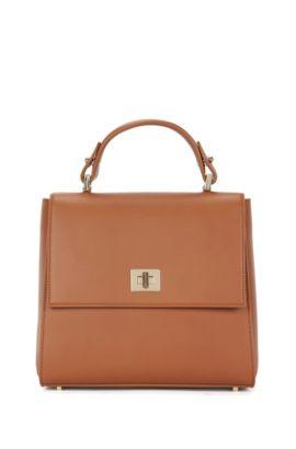 Kleinformatige BOSS Bespoke Handtasche aus glattem Leder, Braun