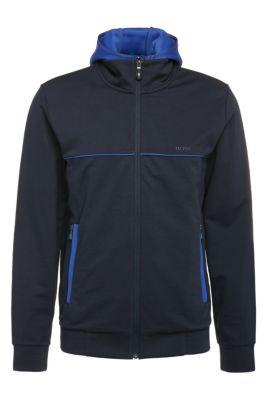 Blouson sweat Regular Fit en coton avec empiècements contrastants: «Sybrid», Bleu foncé