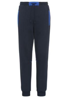 Relaxed-Fit Jogging-Hose aus Baumwolle mit Kontrast-Besätzen: ´Harid`, Dunkelblau
