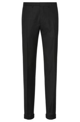 Pantaloni extra slim fit in lana vergine finemente lavorata: 'C-Wyn', Nero