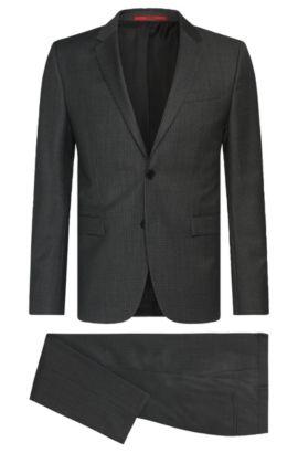 Gemusterter Slim-Fit Anzug aus Schurwolle: 'Astian/Hets', Dunkelgrau