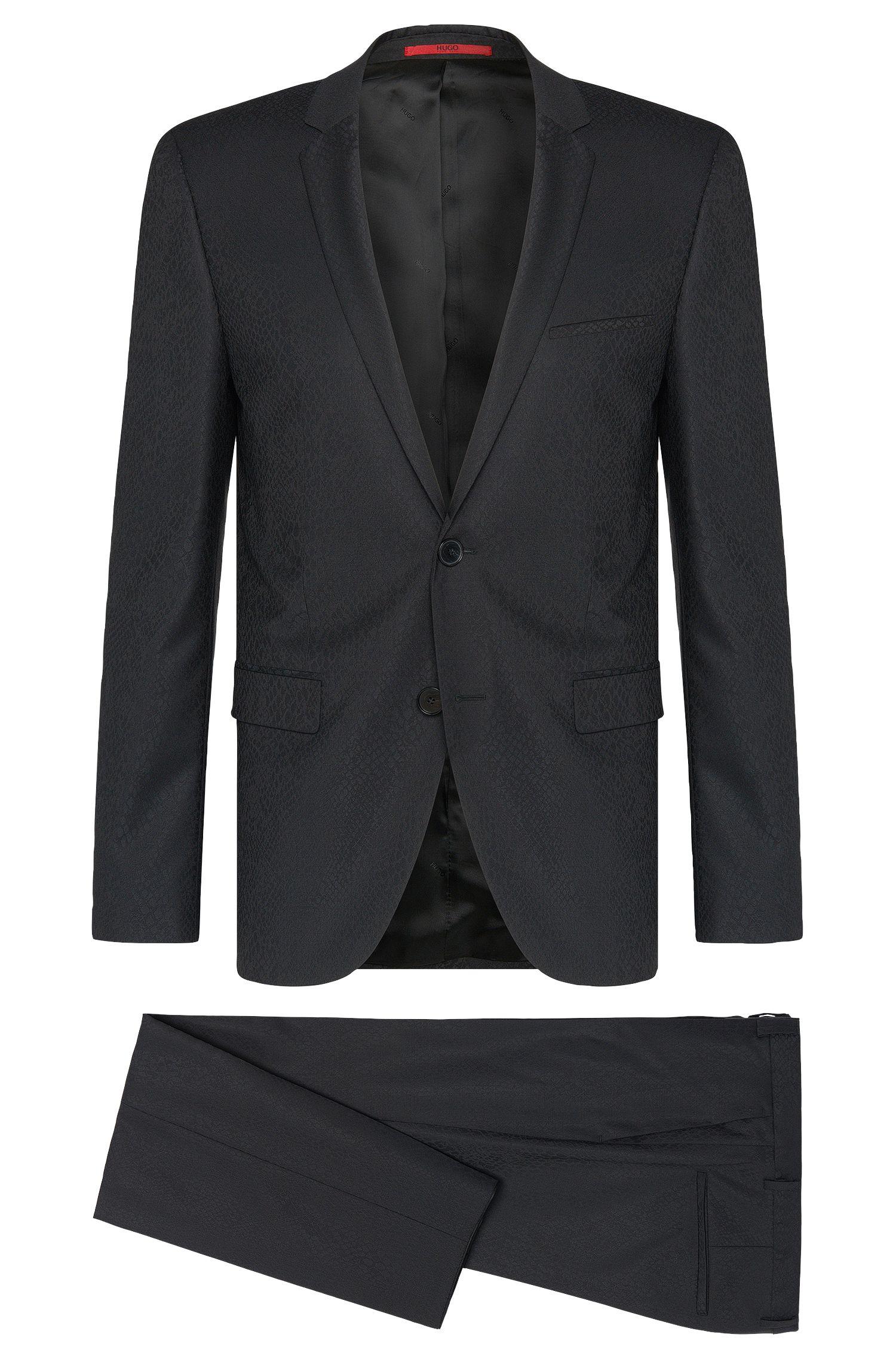 Gemusterter Extra Slim-Fit Anzug aus Schurwolle: 'Adris4/Heibo3'