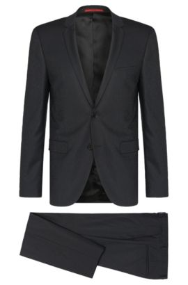 Patterned extra slim-fit suit in new wool: 'Adris4/Heibo3', Anthracite
