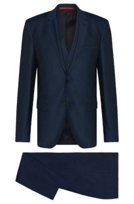 Traje slim fit en lana virgen con estampado fino y chaleco: 'Arney/Wilord/Hyls', Azul oscuro