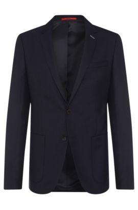 Veste de costume Slim Fit en laine vierge au motif structuré: «C-Hamilton», Bleu foncé