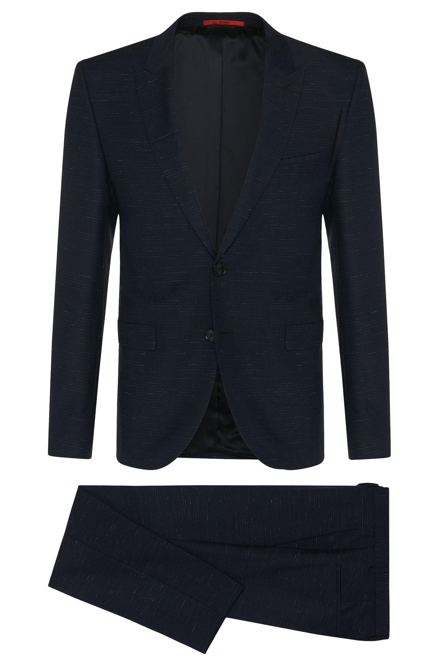 Extra Slim-Fit Anzug aus Schurwolle mit feinem Linienmuster: 'Astor/Hends'