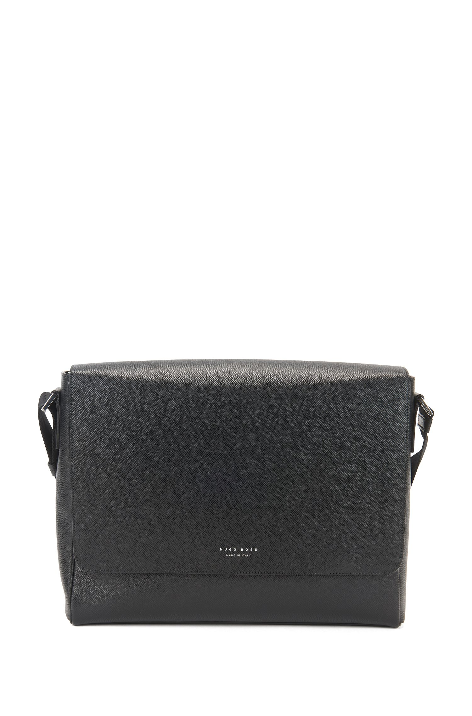 Sac coursier de la collection Signature, en cuir palmellato grainé, Noir