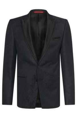 Americana extra slim fit en mezcla de lana virgen con pañuelo de bolsillo integrado: 'Alery', Gris marengo