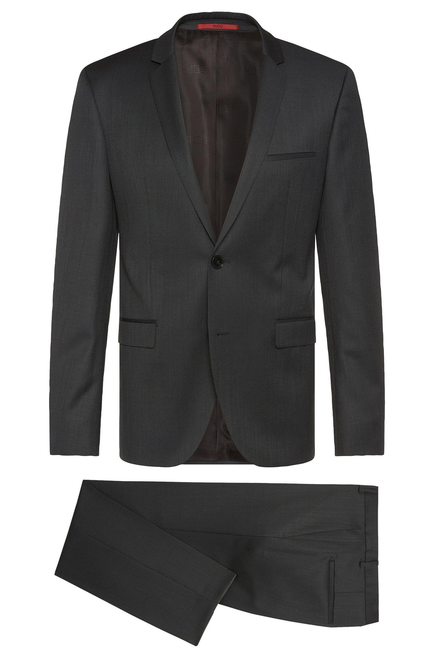 Fein gemusterter Slim-Fit Anzug aus Schurwolle: 'Adris4/Heibo3'