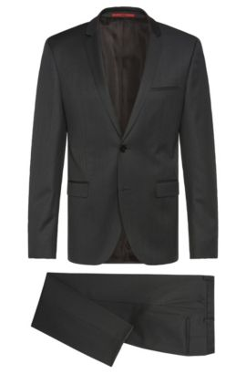 Finely patterned slim-fit suit in new wool: 'Adris4/Heibo3', Anthracite