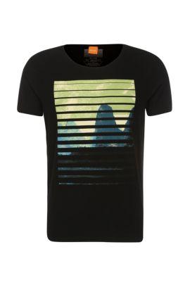 Camiseta en algodón con estampado delantero: 'Talvin', Negro
