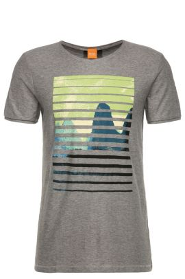 T-shirt with printed front motif in cotton: 'Talvin', Light Grey