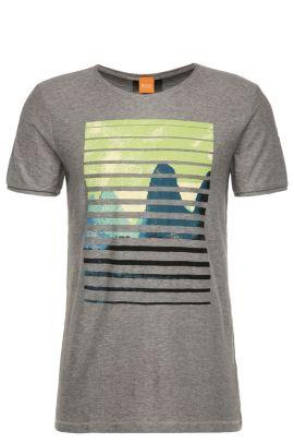 T-shirt van katoen met print op de voorkant: 'Talvin', Lichtgrijs