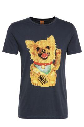 Regular-Fit Shirt aus Baumwolle mit Hunde-Motiv: ´Talan 1`, Dunkelblau