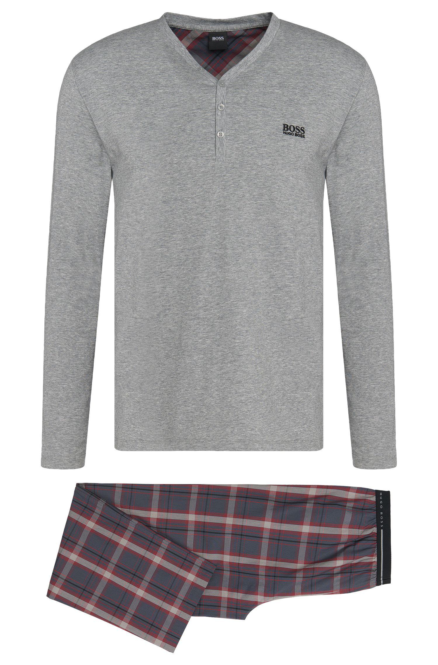 Pyjama en coton orné d'un motif à carreaux chiné: «Set Long»