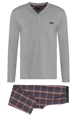 Pyjama aus Baumwolle im meliert-karierten Dessin: 'Set Long', Hellrot