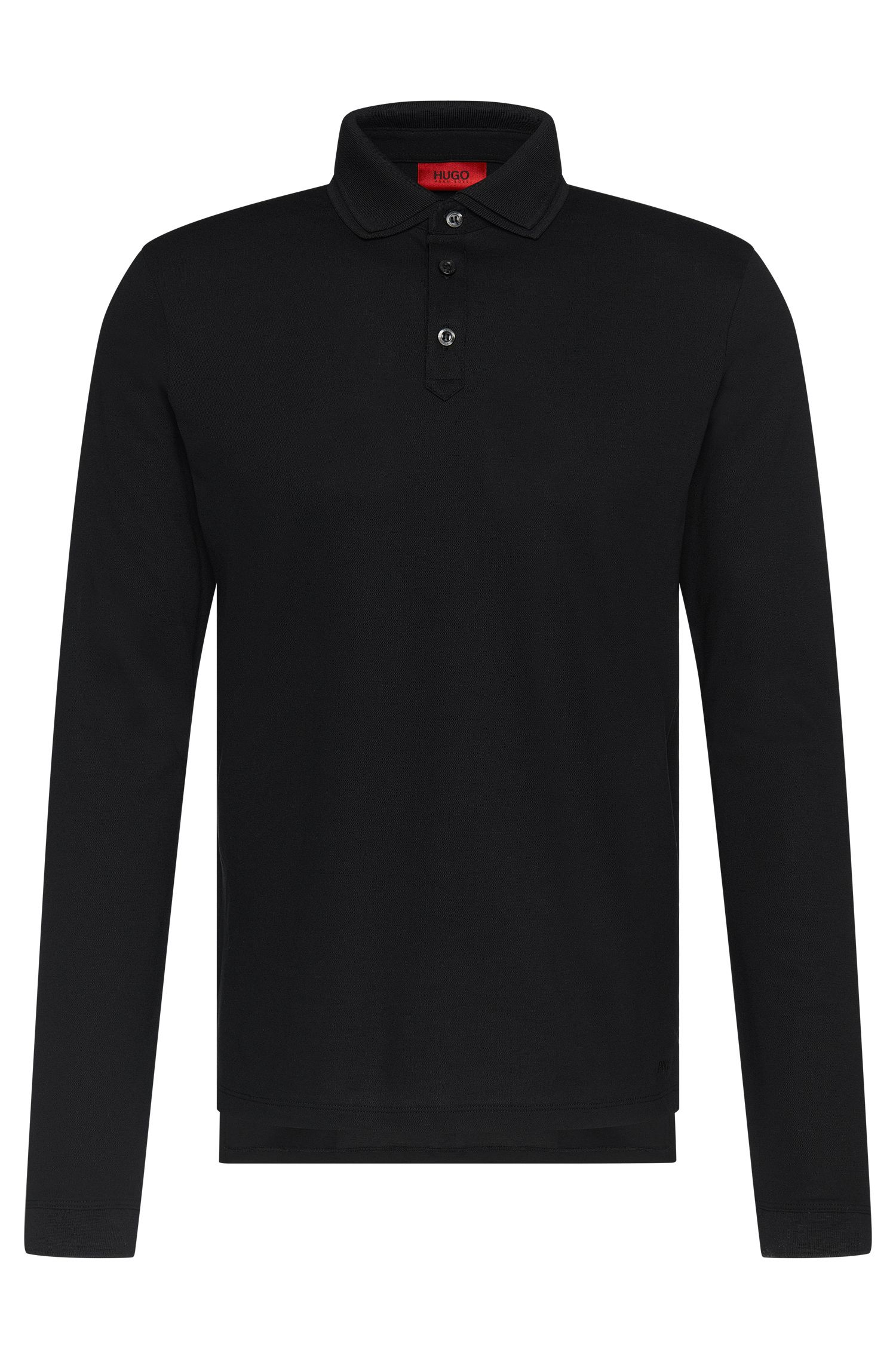 Regular-fit long-sleeved polo shirt in stretch cotton: 'Dirage'