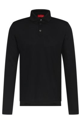 Polo de manga larga regular fit en algodón elástico: 'Dirage', Negro