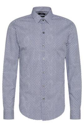 Gemustertes Slim-Fit Hemd aus reiner Baumwolle: 'Robbie', Dunkelblau