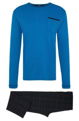 Pijama de dos colores en algodón: 'Set Long', Azul