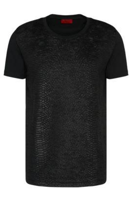 Loose-Fit T-Shirt aus Baumwolle mit strukturierter Front: 'Desert', Schwarz