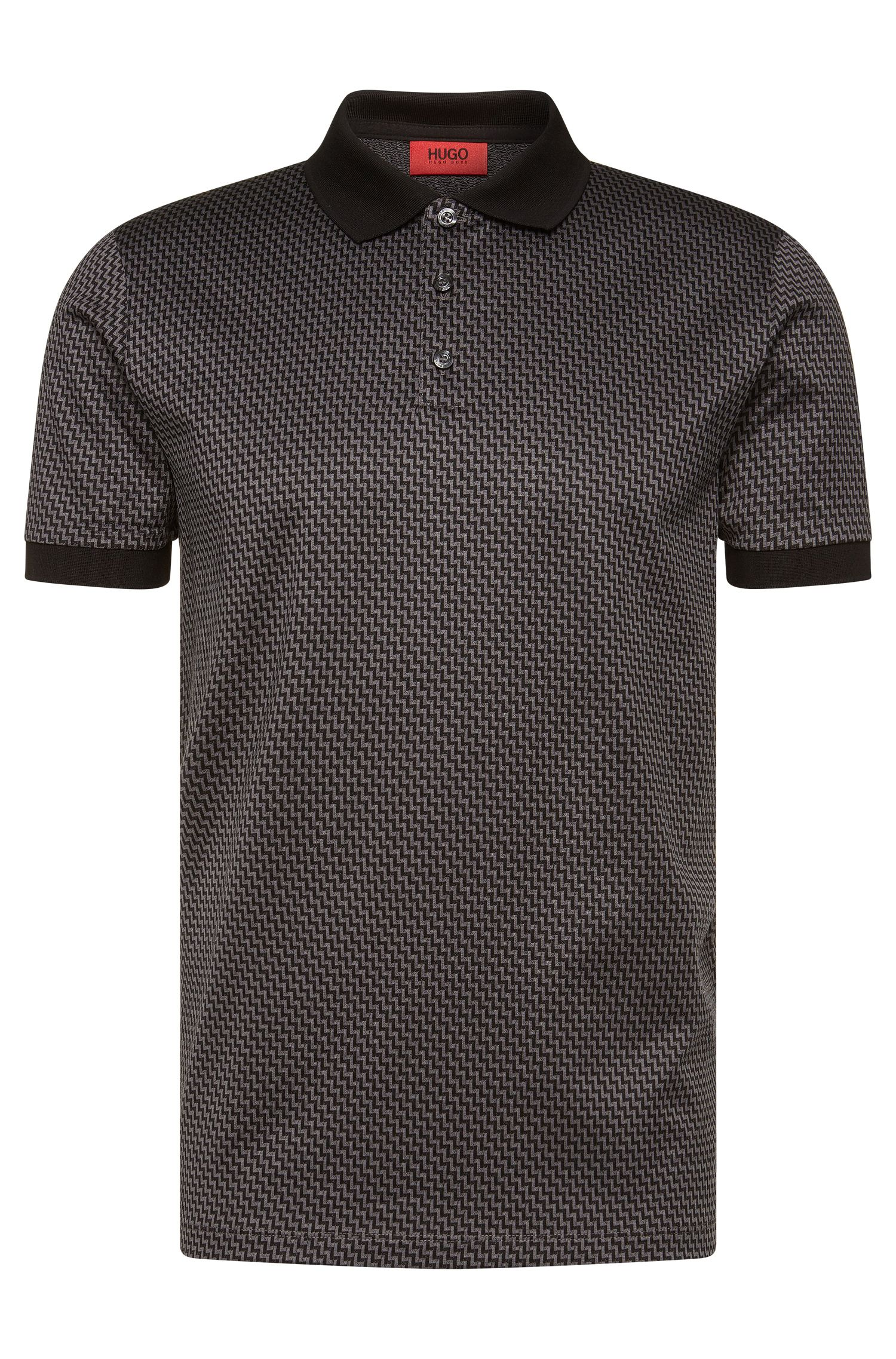 Patterned regular-fit polo shirt in cotton: 'Devron'