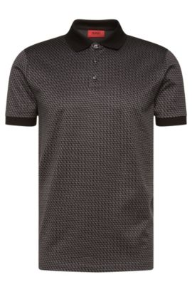 Patterned regular-fit polo shirt in cotton: 'Devron', Dark Grey