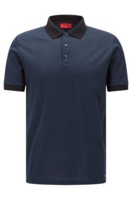 Gemustertes Regular-Fit Poloshirt aus Baumwolle: 'Devron', Dunkelblau