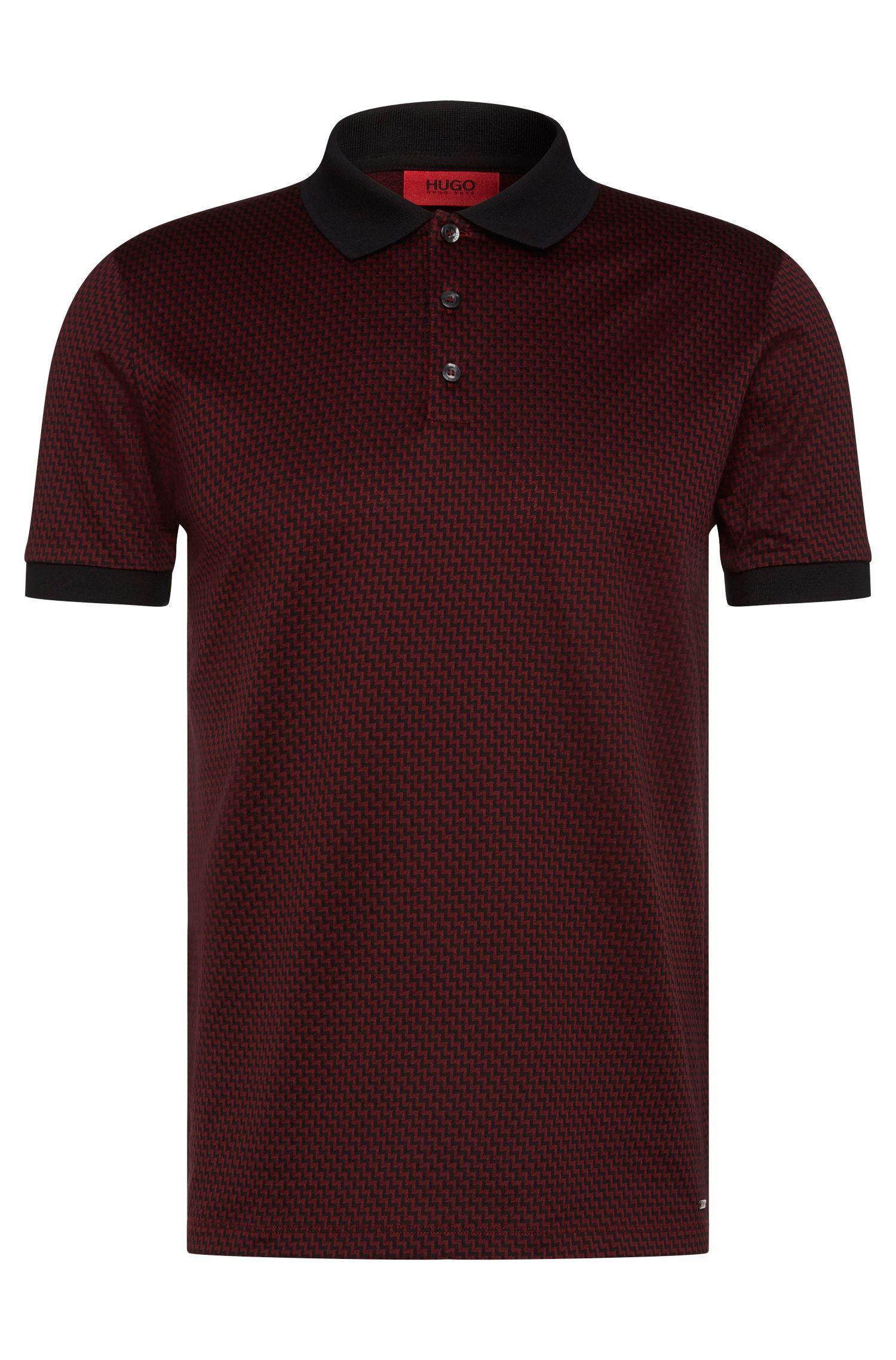 Gemustertes Regular-Fit Poloshirt aus Baumwolle: 'Devron'