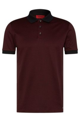 Polo Regular Fit à motif en coton : « Devron », Rouge sombre