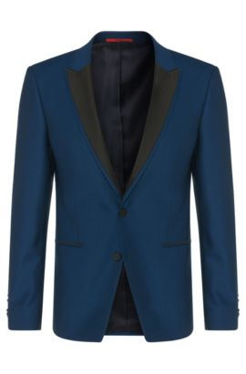 Extra slim-fit jacket in new wool with peak lapel: 'Alery', Open Blue