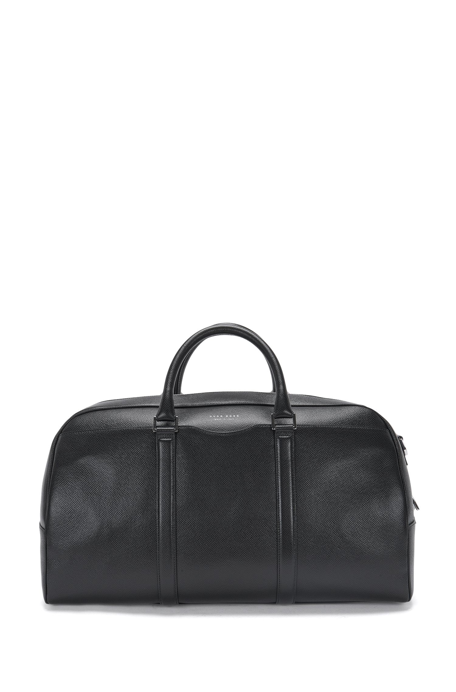 Textured leather weekender with detachable shoulder straps: 'Signature_S hold'