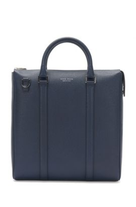 Large leather bag with detachable shoulder strap: 'Signature_Tote Z', Dark Blue
