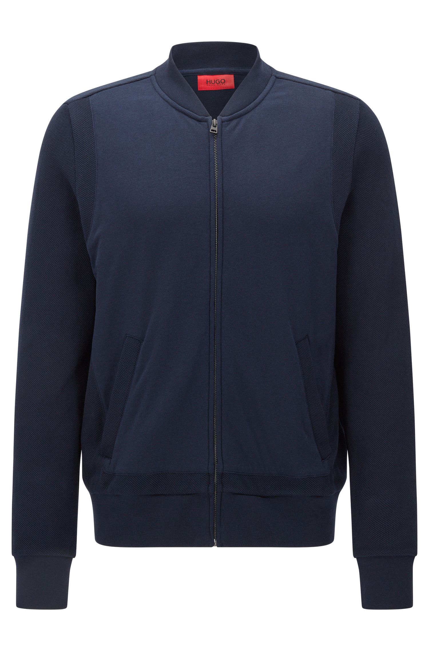 Regular Fit Sweatshirt-Jacke aus Baumwolle im Struktur-Mix: 'Dencore'