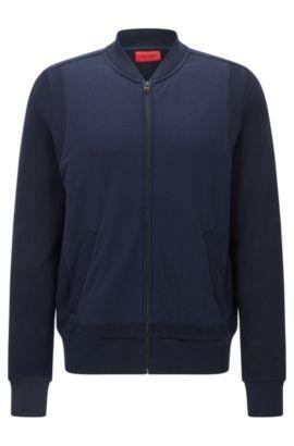 Regular-fit sweatjas van katoen in een structuurmix: 'Dencore', Donkerblauw