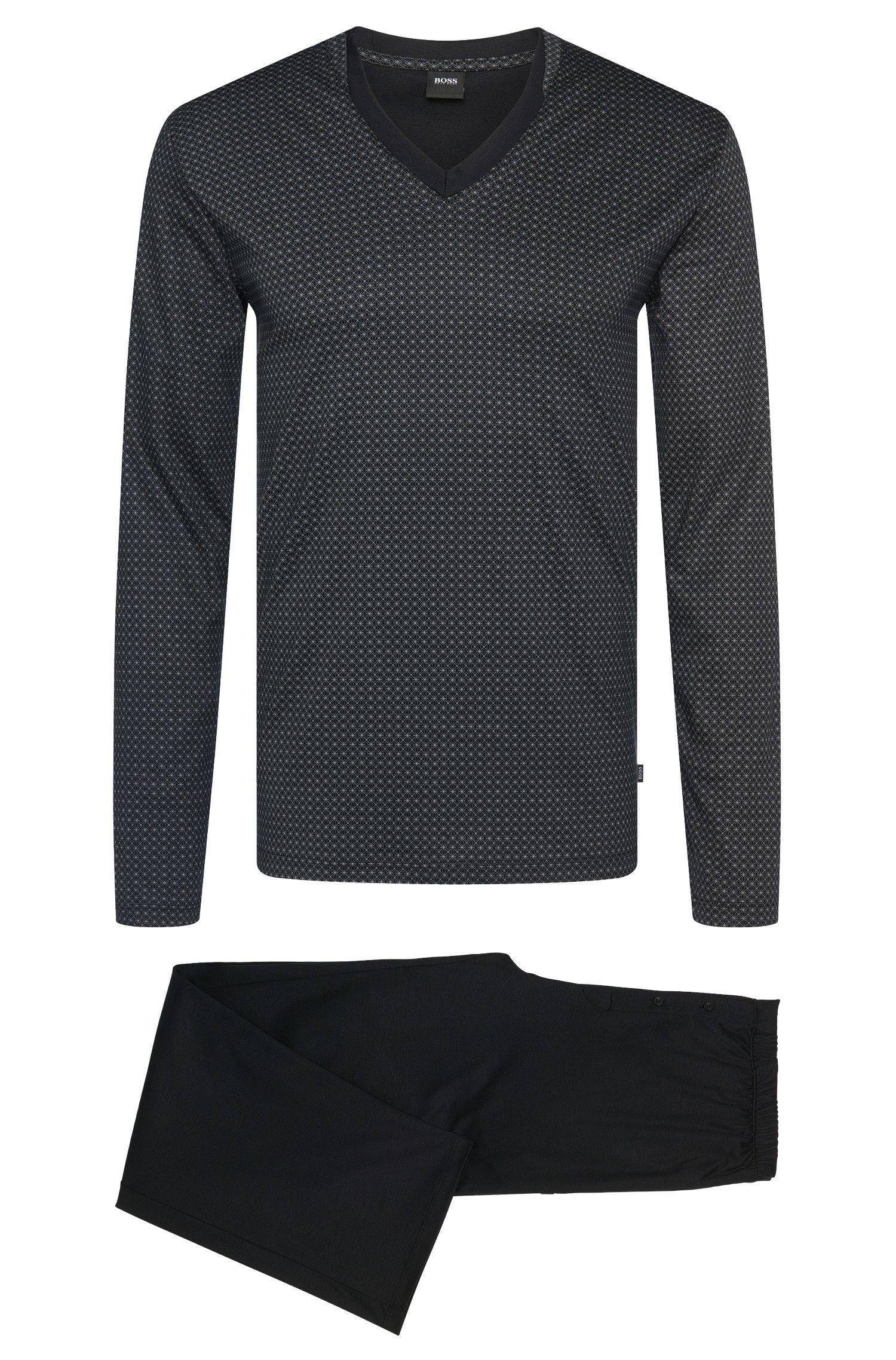 Regular Fit Pyjama aus Baumwolle und Modal im zweifarbigen Dessin: 'Set Long'