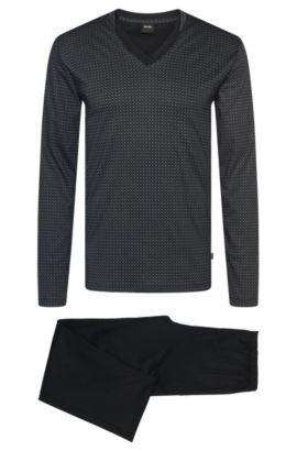 Regular Fit Pyjama aus Baumwolle und Modal im zweifarbigen Dessin: 'Set Long', Gemustert