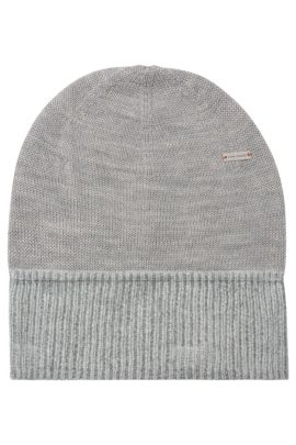 Knit cap in wool blend with cotton: 'Fidoo', Light Grey