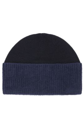 Knit cap in wool blend with cotton: 'Fidoo', Dark Blue