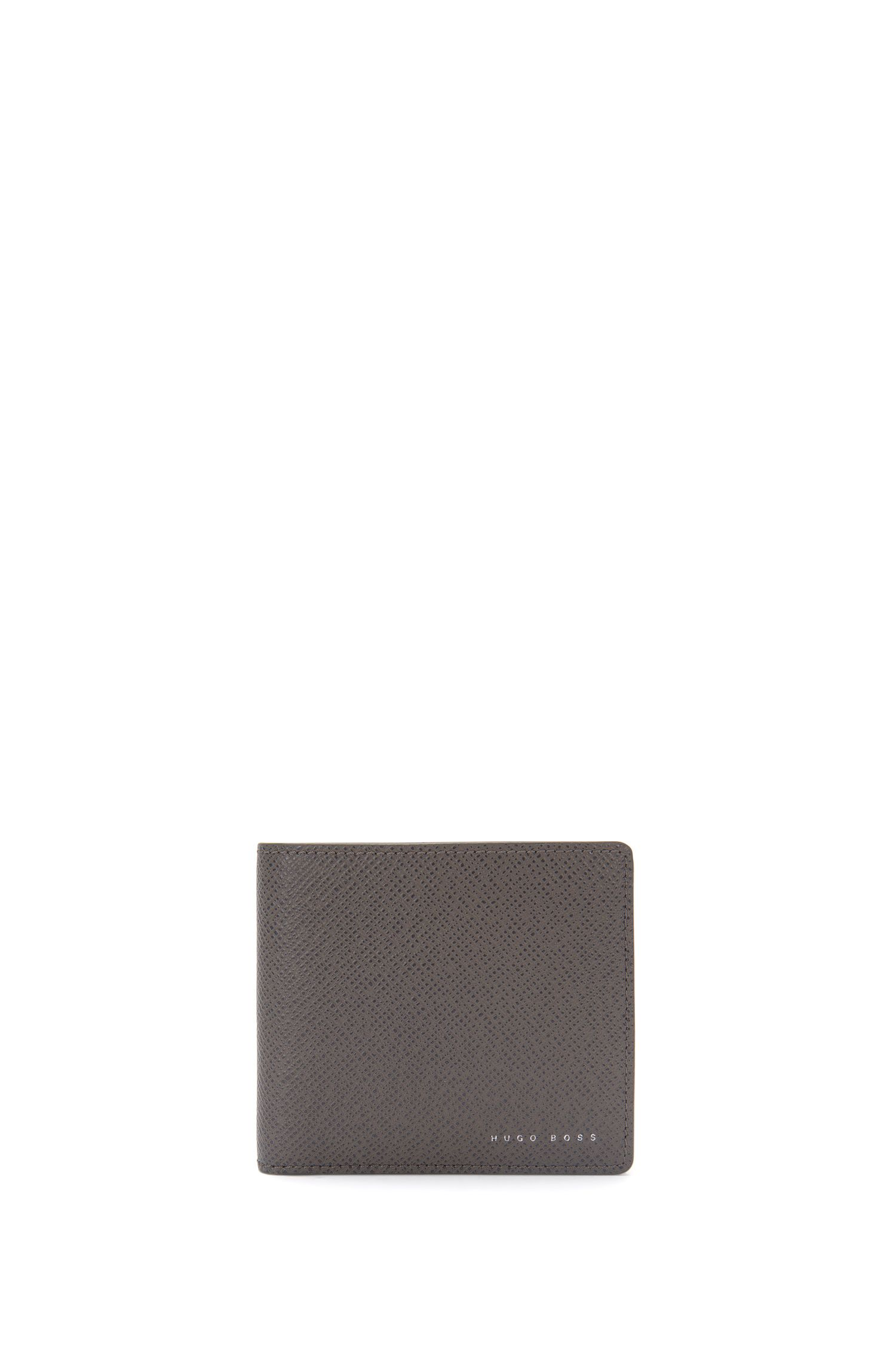 Wallet in textured leather: 'Signature_4cc coin B'