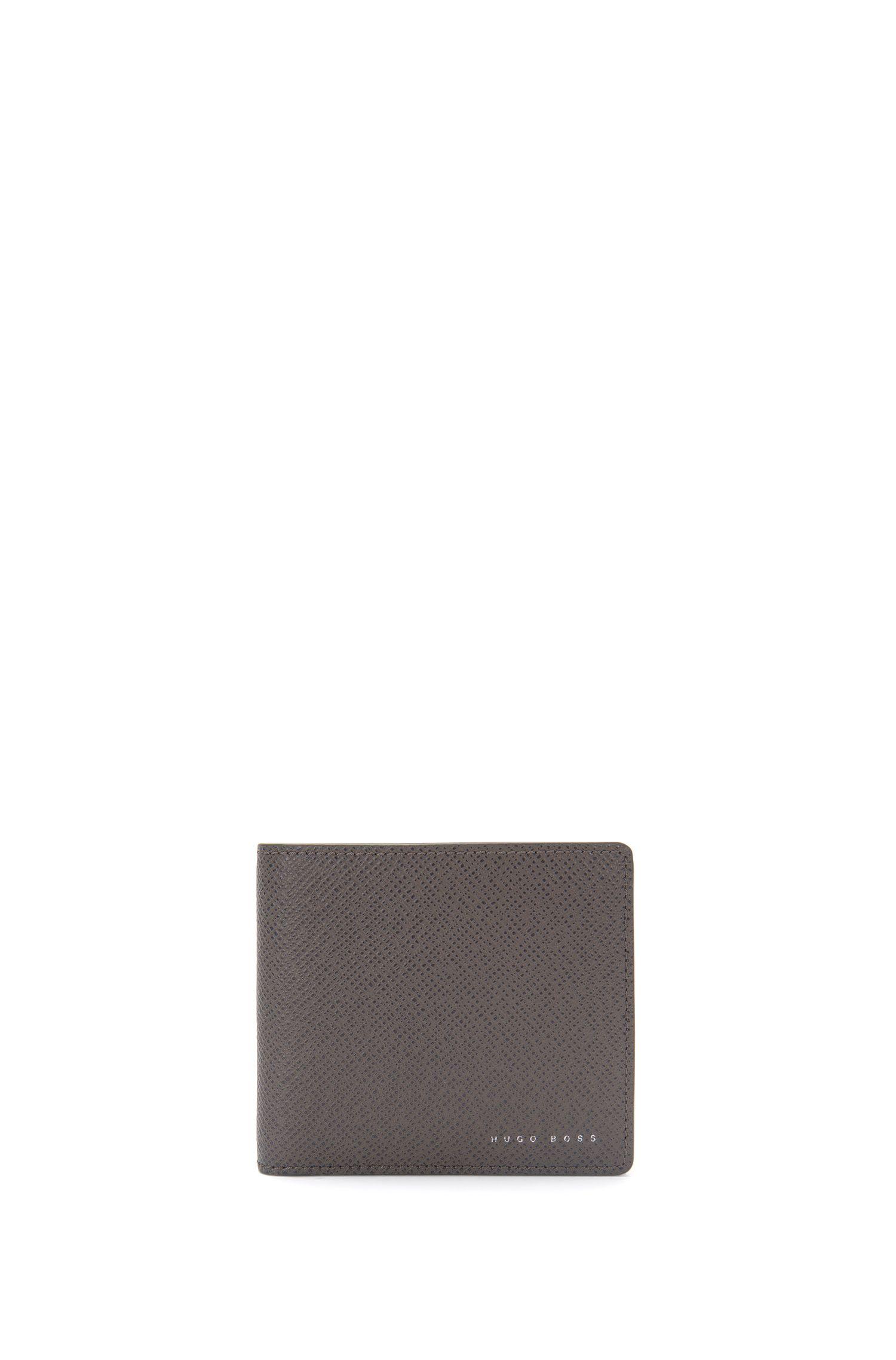 Portefeuille en cuir structuré: «Signature_4cc coin B»