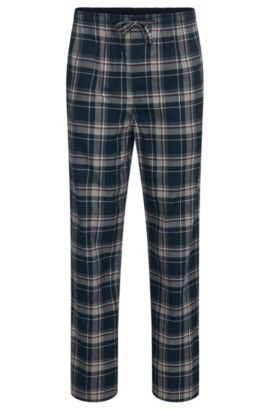 Checked pyjama bottoms in cotton: 'Long Pant CW', Open Blue