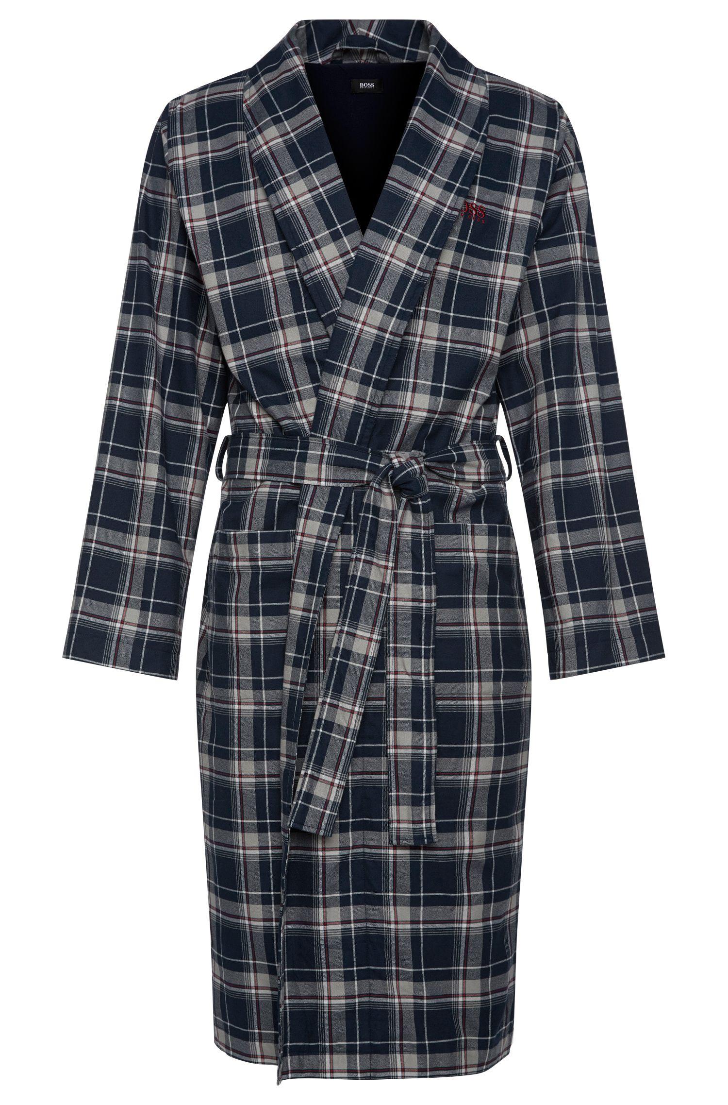 Karierter Morgenmantel aus Baumwolle: 'Shawl Collar Robe'