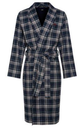 Karierter Morgenmantel aus Baumwolle: 'Shawl Collar Robe', Hellblau