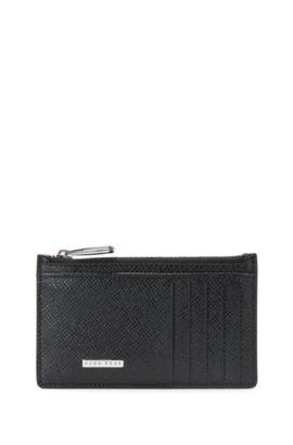 Geldbörse aus strukturiertem Leder: 'Signature_5cc Z poch', Schwarz