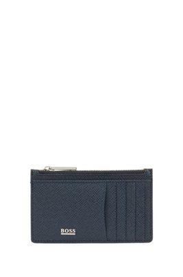 Porte-cartes Signature Collection, en cuir palmellato, Bleu foncé