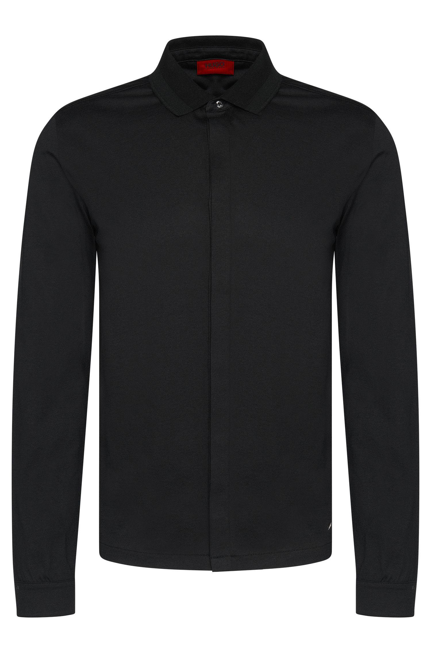 Plain regular-fit long-sleeved polo shirt in cotton: 'Daesars'