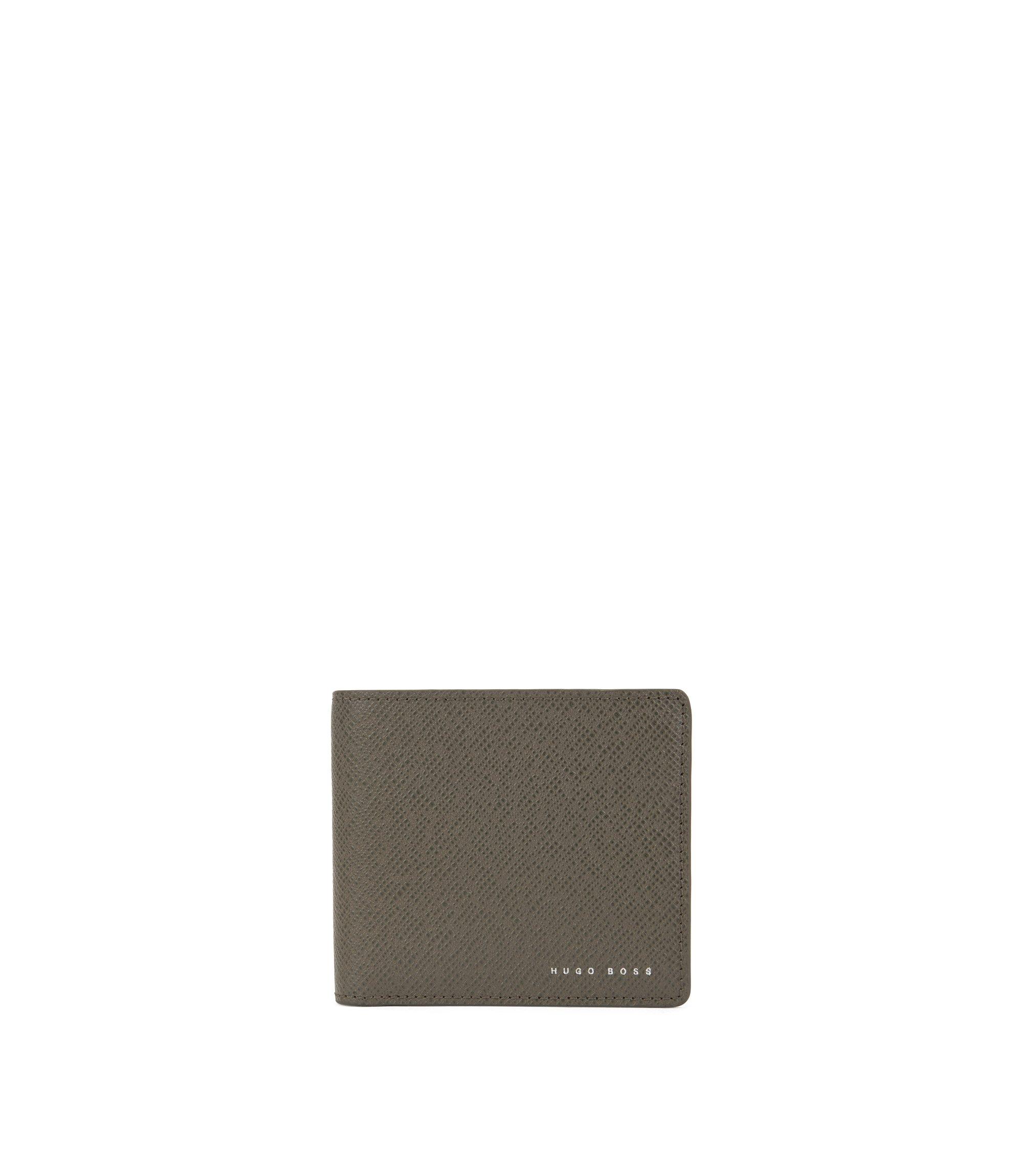 Openklapbare portemonnee uit de Signature Collection, van leer met 8 vakjes voor pasjes, Donkergrijs