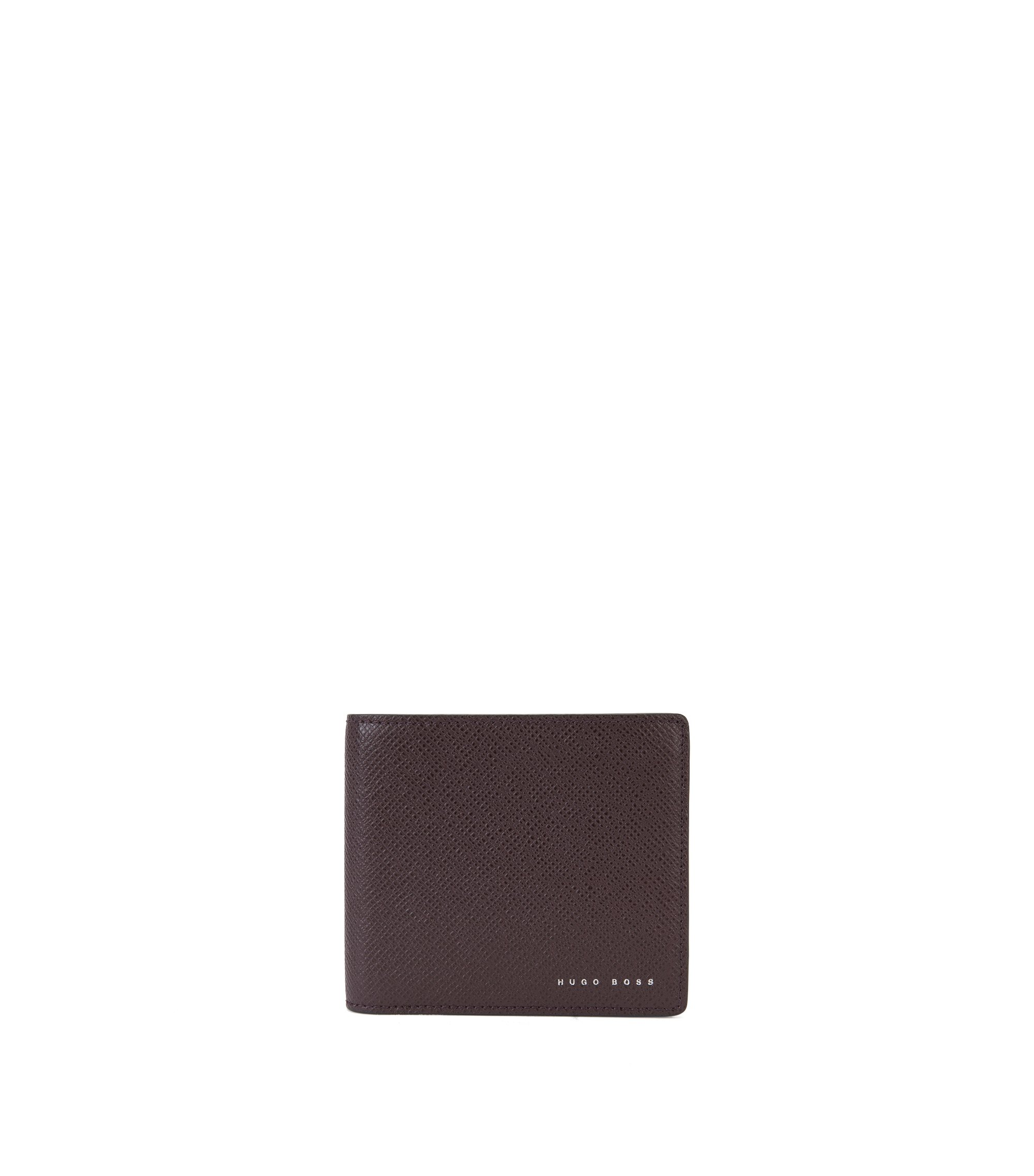 Signature Collection leather folding wallet with 8 card slots, Dark Red